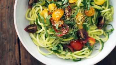 "Zucchini ""Pasta"" with Basil & Avocado Dressing"