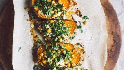 Roasted Sweet Potato Bites w/ Chickpea & Cilantro