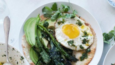 Roasted Broccoli Rabe, Avocado Egg Tostada w/ Chimichurri