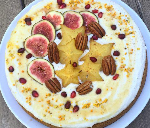 Almond Spice Cake with Greek Yogurt Meringue