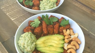 Curried Carrot Bowl with Cashew and Cilantro Crema