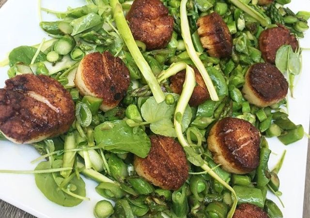 Blackened Scallops over Wilted Greens and Snap Peas