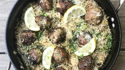 One Skillet Lemony Turkey Meatballs & Rice