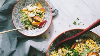 Green Rice Salad with Grilled Peaches and Sweet Corn