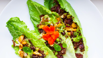 Leafy Lettuce Taco Wraps with Red Quinoa and Purple Potato