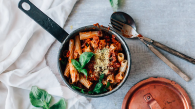 Hearty Lentil Bolognese over Quinoa Pasta with Almond Ricotta