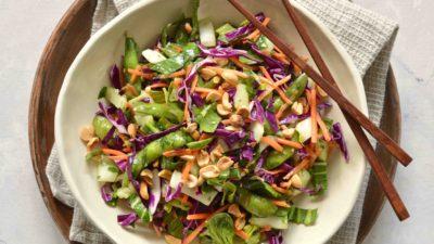 Bok Choy Salad with Edamame and Rice Wine Vinaigrette