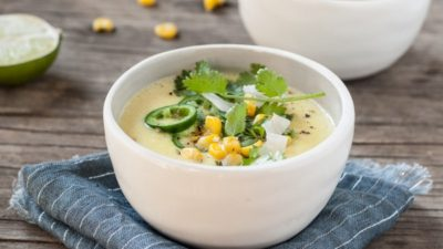 Creamy Street Corn Soup with Roasted Poblano