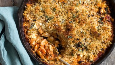 Corona Beans with Tomato, Spinach, Feta & Walnut Herb Crumble