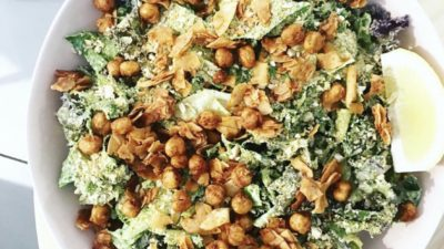 Vegan Kale Caesar with Chickpea Croutons