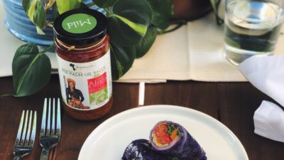 Purple Cabbage Veggie Rolls with Juka Organics Red Palm Oil